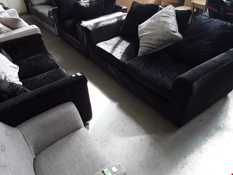 Lot 75 DESIGNER CRUSHED BLACK VELVET THREE & TWO SEATER SOFAS WITH SCATTER CUSHIONS