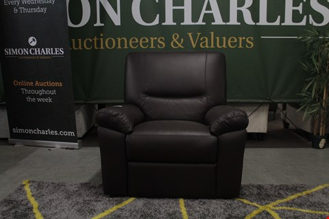 Lot 10029 DESIGNER BROWN ITALIAN LEATHER RECLINING ARM CHAIR