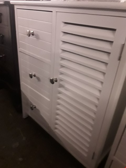 Lot 49 DESIGNER WHITE CUPBOARD WITH 3 DRAWERS & LOUVERED CUPBOARD