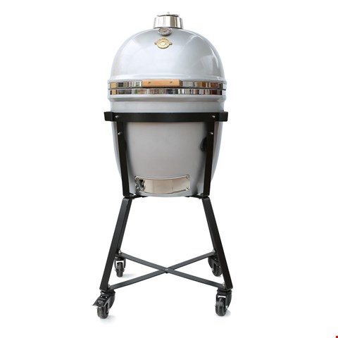 Lot 95A BRAND NEW SILVER GRILL DOME KAMADO LARGE IN WITH STAND, SIDE SHELFS AND COVER  RRP £985
