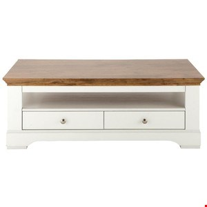 Lot 2052 BOXED GRADE 1 WILTSHIRE CREAM AND OAK-EFFECT 2-DRAWER COFFEE TABLE (1 BOX) RRP £349