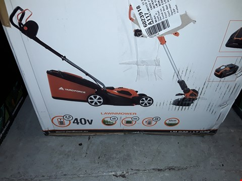 Lot 12398 YARD FORCE 32CM ROTARY CORDLESS LAWNMOWER AND GRASS TRIMMER TWIN PACK WITH LITHIUM-ION 40V BATTERY