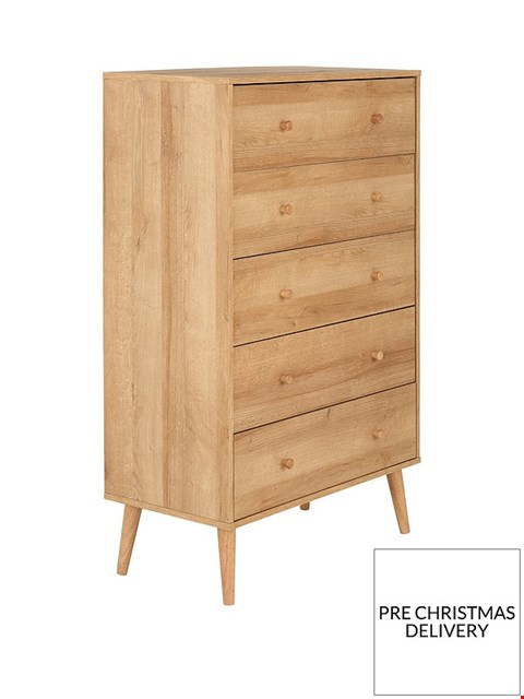 Lot 2098 BOXED GRADE 1 ANDERSON OAK 5 DRAWER CHEST