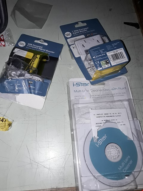 Lot 83 A BOX OF APPROXIMATELY 30 ASSORTED ITEMS TO INCLUDE,  USB COMPACT SIGNAL BOOSTER , 1 WAY COMPACT SIGNAL BOOSTER AND MULTI LENS CLEANER DISC WITH FLUID ETC