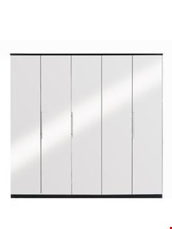 Lot 532 PRAGUE MIRROR/WHITE 5 DOOR WARDROBE (5 BOXES)
