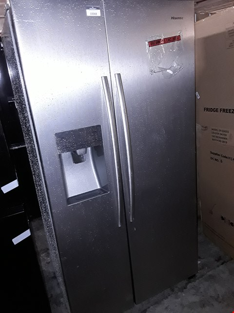 Lot 10068 HISENSES SILVER AMERICAN STYLE FRIDGE FREEZER WITH WATER AND ICE DISPENSER