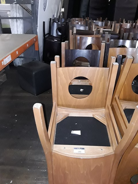 Lot 141 LOT OF APPROXIMATELY 20 ASSORTED CAFE STYLE WOODEN DINING CHAIRS AND CUBE SHAPED STOOLS