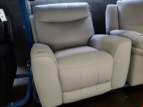 Lot 24 PAIR OF DESIGNER WHITE LEATHER MANUAL RECLINING EASY CHAIRS