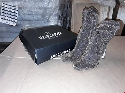 Lot 35 BOXED MISGUIDED BRONZE GLITTER SQUARE TOE SOCK BOOT SIZE 8UK/41EUR
