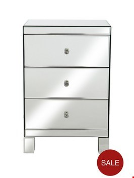 Lot 11002 BOXED PARISIAN 3-DRAWER MIRRORED BEDSIDE CABINET (1 BOX) RRP £199.00