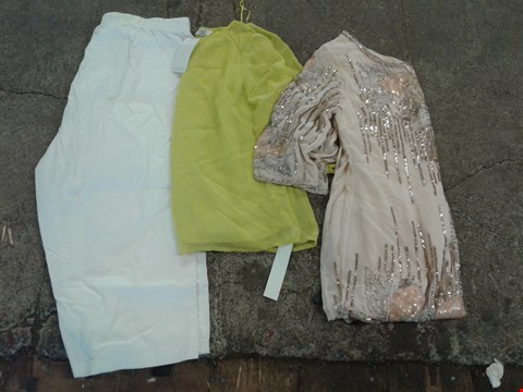 Lot 242 BOX OF APPROXIMATELY 50 CLOTHING ITEMS TO INCLUDE LIME TOP, NUDE SEQUIN DRESS AND WHITE SHORTS - VARIOUS SIZES