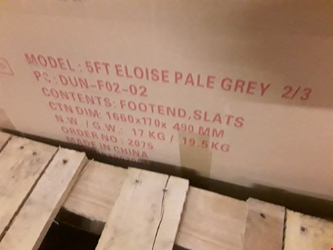 Lot 12125 BOXED ELOISE PALE GREY 5' KINGSIZE BEDFRAME (3 BOXES)