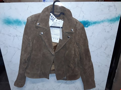 Lot 4010 CAPSULE STYLE BROWN SUEDE JACKET - SIZE 10