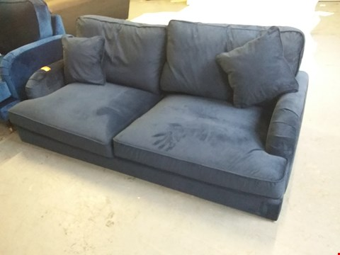 Lot 82 DESIGNER BLUE VELVET PERIOD STYLE THREE SEATER SOFA