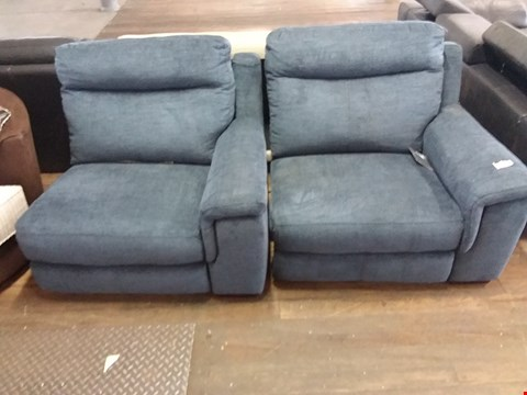 Lot 73 2 DESIGNER BLUE FABRIC MANUAL RECLINING ARMCHAIRS