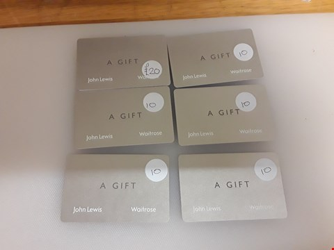 Lot 28 11 ASSORTED JOHN LEWIS GIFT CARDS TOTAL VALUE £120