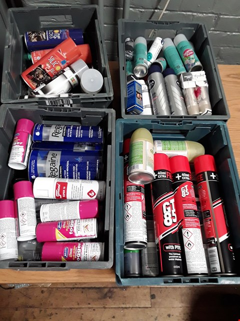 Lot 1008 FOUR TRAYS OF ASSORTED AEROSOLS INCLUDING GT85 LUBRICANT, FLEA ROOM FOGGERS, SILICONE SPRAY, DRY SHAMPOO, ( TRAYS NOT INCLUDED)
