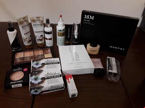 Lot 2137 BOX OF APPROXIMATELY 28 HEALTH AND BEAUTY ITEMS TO INCLUDE REVOLUTION PRO HD CREAM CONTOUR PALETTE AND FOREVER ALOE BIO-CELLULOSE MASKS