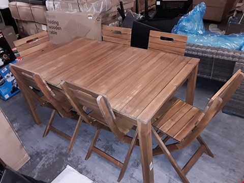Lot 429 DENIA WOODEN 6-SEATER OUTDOOR DINING SET RRP £330