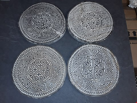 Lot 8200 LOT OF 4 CARVED AND PAINTED MANDALA STYLE WOODEN PLATES