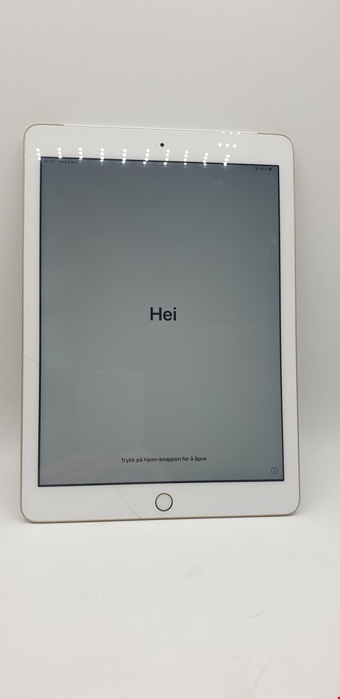 Lot 6316 BOXED APPLE IPAD 5 (CELLULAR + WI-FI) 128GB IOS TABLET - GOLD WITH ACCESSORIES TO INCLUDE APPLE EARPODS WITH HEADPHONE PLUG, APPLE LIGHTING TO USB 2M CABLE AND APPLE USB POWER ADAPTER