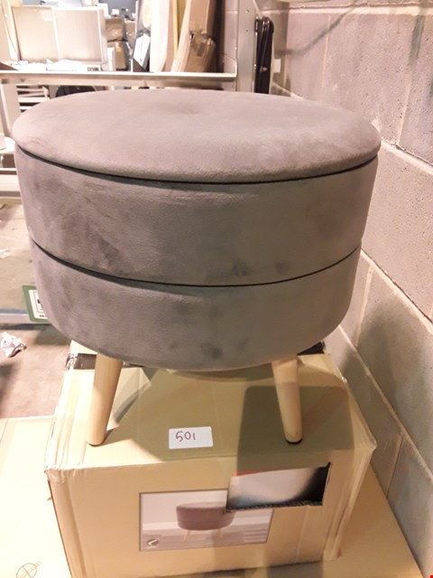 Lot 501 BOXED GREY FABRIC STORAGE FOOTSTOOL