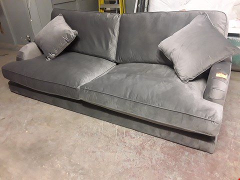 Lot 39 DESIGNER GREY VELVET THREE SEATER PERIOD STYLE SOFA