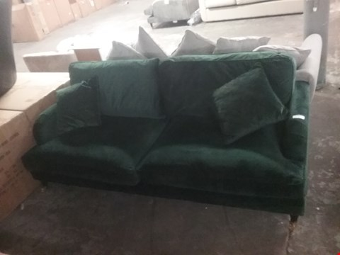 Lot 4 DESIGNER BOTTLE GREEN FABRIC THREE SEATER SOFA ON CASTERS