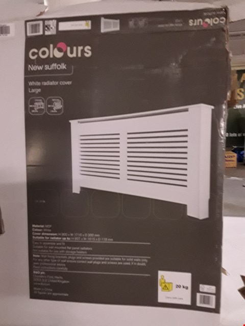 Lot 3195 COLOURS NEW SUFFOLK WHITE RADIATOR COVER - WHITE H900 X W1710 X D200 MM