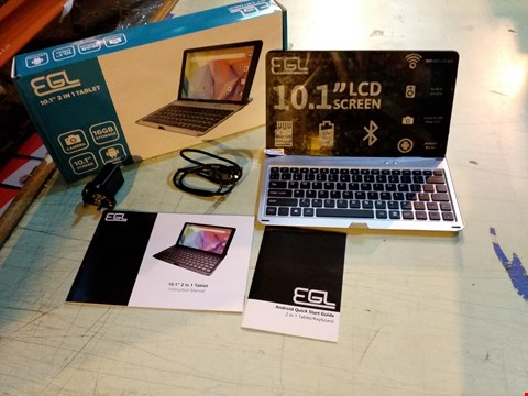 """Lot 6107 BOXED EGL 10.1"""" 1GB RAM, 16GB STORAGE ANDROID TABLET WITH KEYBOARD ACCESSORY - SILVER"""
