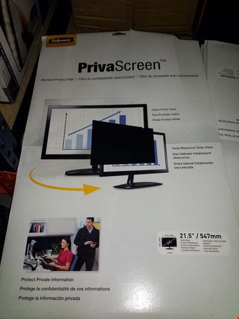 """Lot 280 LOT OF 7 FELLOWES 22"""" WIDESCREEN PRIVASCREEN BLACKOUT PRIVACY FILTERS"""
