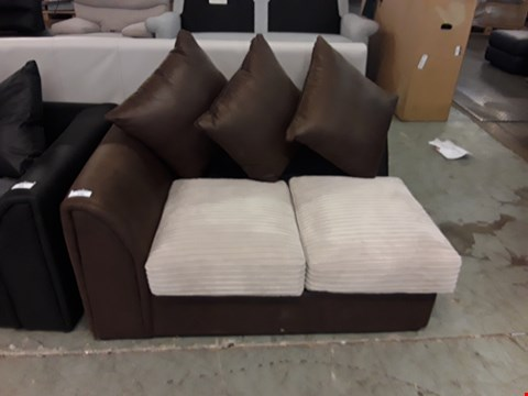 Lot 190 DESIGNER BROWN FAUX LEATHER AND BEIGE JUMBO CORD SOFA SECTION