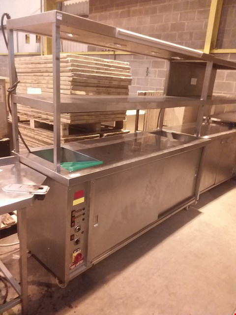 Lot 4029 STAINLESS STEEL HEATER GANTRY UNIT WITH STORAGE