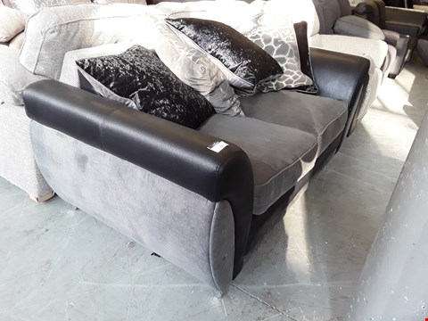Lot 22 DESIGNER BLACK FAUX LEATHER AND GREY FABRIC 2 SEATER SOFA WITH SCATTER BACK CUSHIONS