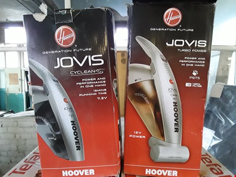 Lot 4 LOT OF 2 ASSORTED HOOVER HAND VACUUM PRODUCTS TO INCLUDE JOVIS CYCLEAN 7.2V & JOVIS TURBO POWER 12V