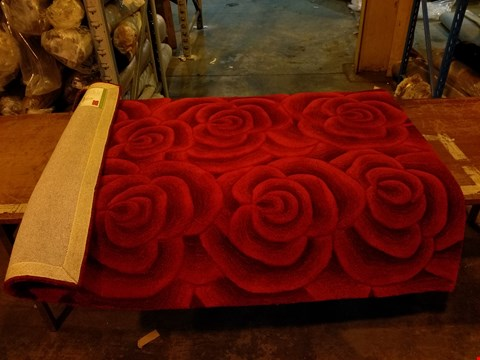 Lot 3031 DESIGNER THINK RUGS HAND TUFTED VALENTINE RED ROSES RUG 120X170CM