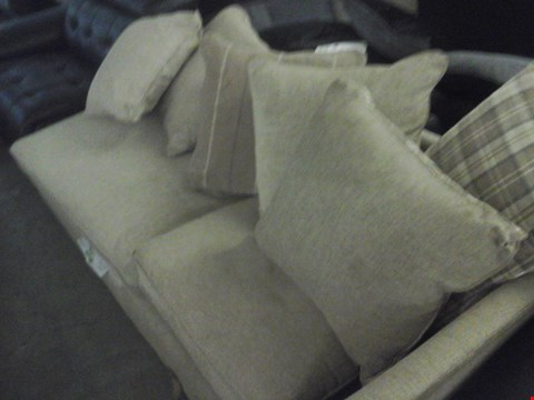 Lot 87 DESIGNER BEIGE FABRIC SOFA SECTION WITH CUSHIONS
