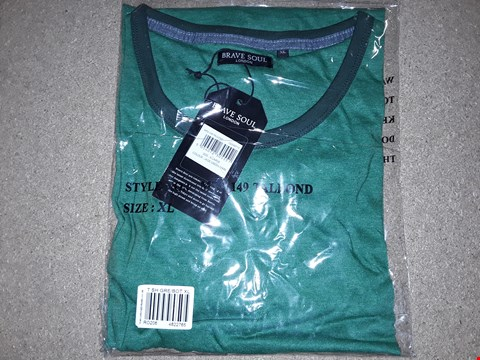 Lot 129 BOX OF APPROXIMATELY 24 BRAVE SOUL JADE GREEN MARL T-SHIRTS SIZE XL