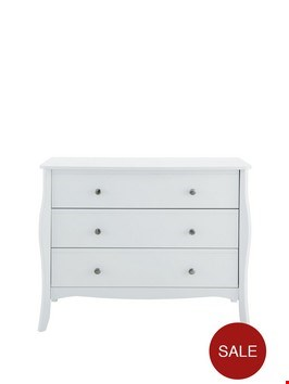 Lot 76 BAROQUE 3 DRAWER CHEST WHITE RRP £199
