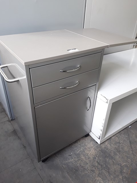 Lot 2077 GREY METAL PORTABLE WORK STATIONS, WITH DROP DOWN TOP EXTENSION, FITTED 2 DRAWERS & CUPBOARD