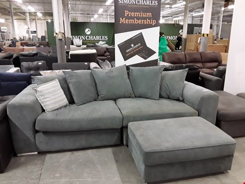 Lot 16 DESIGNER LIGHT GREY FABRIC 3 SEATER SOFA WITH FOOTSTOOL