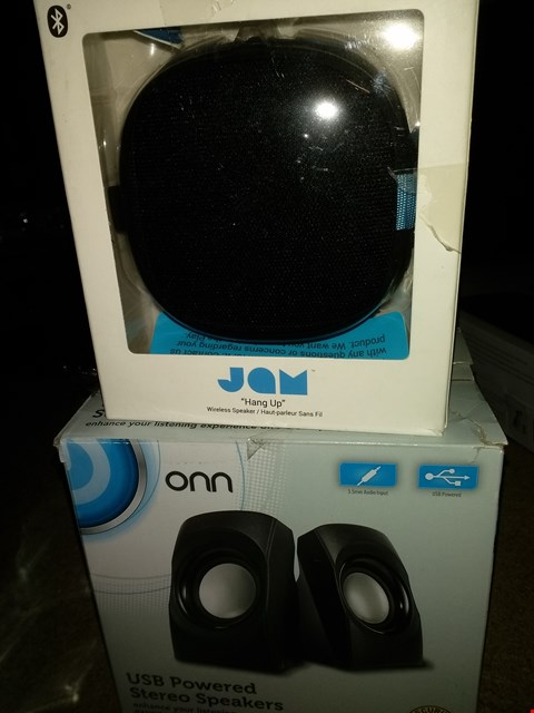 Lot 1144 LOT OF 2 ASSORTED SMALL SPEAKERS, 1X JAM HANG UP BLUETOOTH SPEAKER,  1X ONN USB STEREO SPEAKERS
