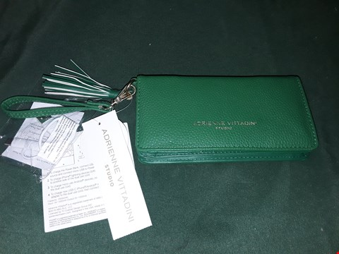 Lot 4034 ADRIENNE VITTADINI GREEN LEATHER PURSE WITH PHONE CHARGING BANK AND RFID BLOCKER
