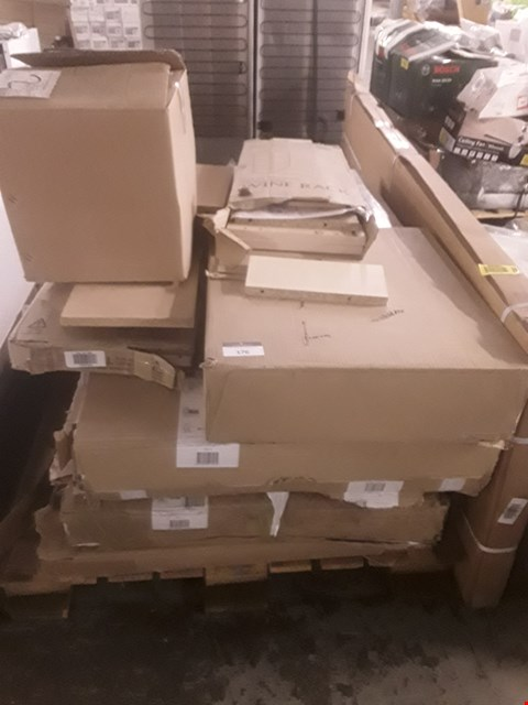 Lot 59 A LARGE PALLET OF APPROXIMATLEY 30 ASSORTED KITCHEN UNITS INCLUDING WINE RACK, SHELF PACK, CORNER CABINET AND MORE