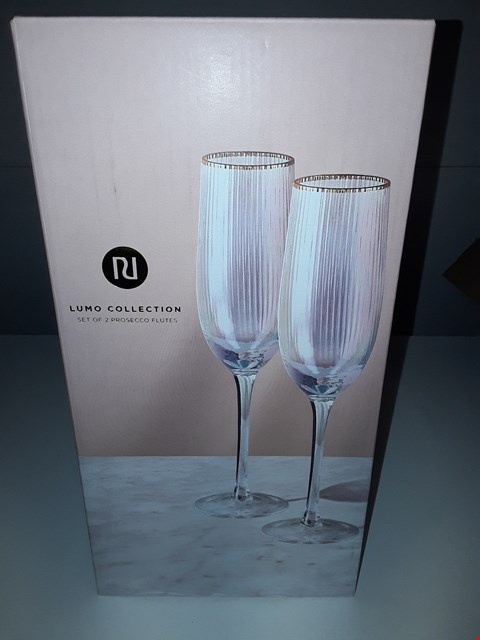Lot 5017 BOXED LUMO COLLECTION SET OF 2 PROSECCO FLUTES
