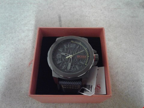 Lot 9041 HUGO BOSS ORANGE GREY DIAL GREEN ACCENT GREY STRAP MENS WATCH RRP £199.00