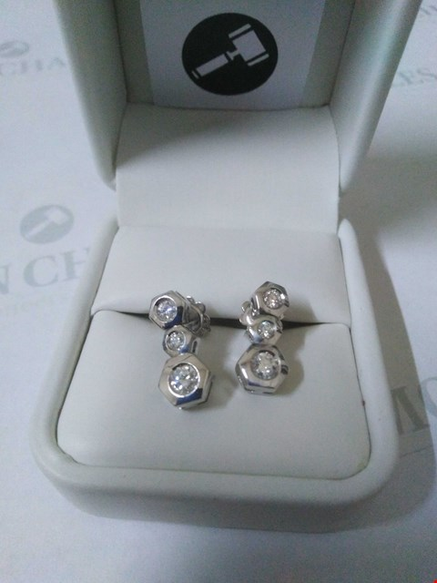 Lot 55 18CT WHITE GOLD DROP EARRINGS SET WITH DIAMONDS WEIGHING +0.51CT RRP £2250.00