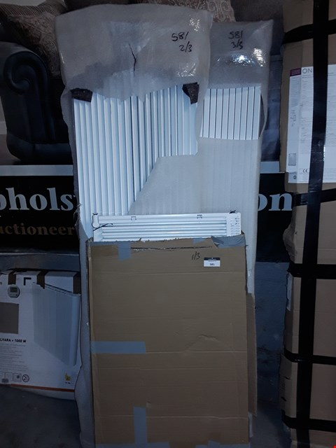 Lot 581 LOT OF 3 ASSORTED DESIGNER WHITE RADIATORS INCLUDES 2 LARGE CURVED