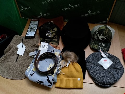 Lot 4138 BOX OF APPROXIMATELY 13 CLOTHING ACCESSORIES TO INCLUDE BLACK TOOTHLESS HAT,  ZARA GREY FLORAL PATTERN SCARF AND WHITE BRACES