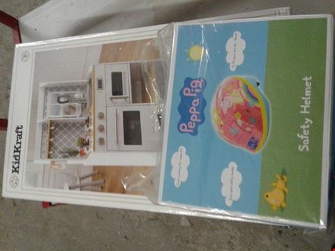 Lot 13 KIDKRAFT LET'S COOK WOODEN PLAY KITCHEN (1 BOX)  AND A PEPPA PIG SAFETY HELMET RRP £139.99